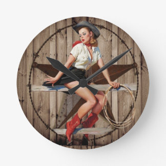 Barn Wood Texas Star western country Cowgirl Round Clock