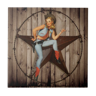 Barn Wood Texas Star western country Cowgirl Small Square Tile