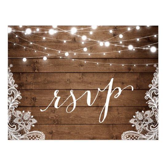 Barn Wood Twinkle Lights Lace Rustic Wedding RSVP