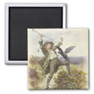 Barnaby Rudge and the Raven Grip Square Magnet