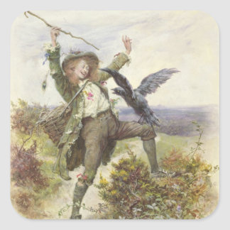 Barnaby Rudge and the Raven Grip Square Sticker