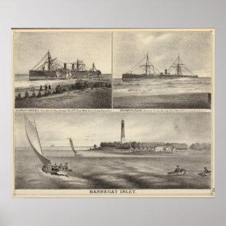 Barnegat Inlet Steamship Amerique Poster