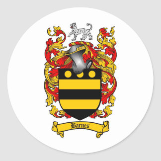 BARNES FAMILY CREST -  BARNES COAT OF ARMS ROUND STICKER
