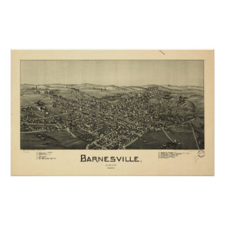 Barnesville Ohio 1899 Antique Panoramic Map Poster
