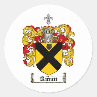 BARNETT FAMILY CREST -  BARNETT COAT OF ARMS ROUND STICKER