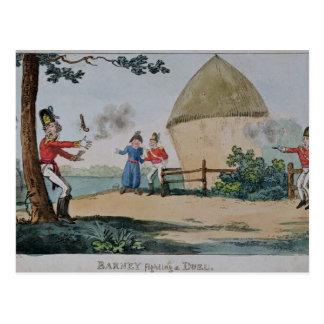 Barney fighting a duel postcard