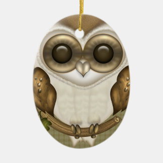 Barney The Barn Owl Oval Ornament