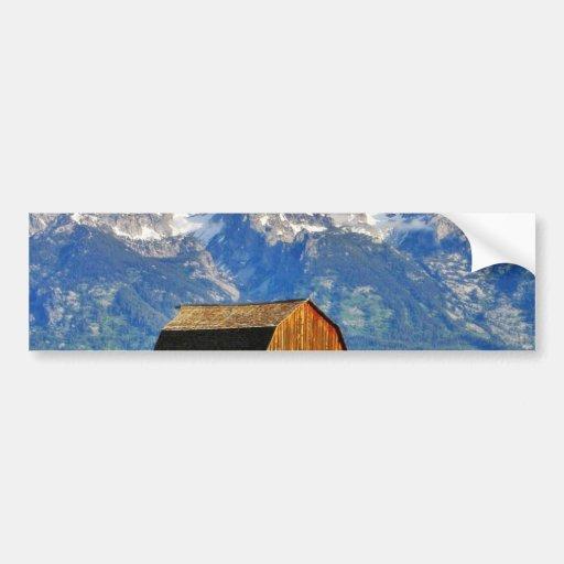 Barns Grand Tetons Mountains Bumper Stickers