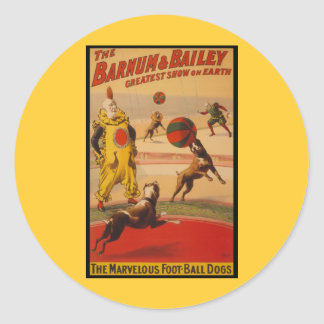 Barnum & Bailey Circus Foot-Ball Dogs Round Sticker