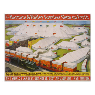 Barnum & Bailey Circus Tents with Train Poster