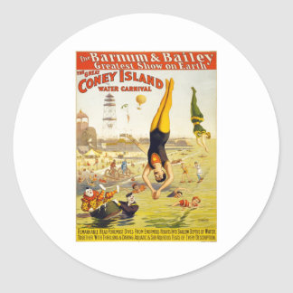 Barnum & Bailey Coney Island Water Carnival Round Sticker