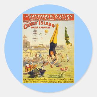 Barnum & Bailey Coney Island Water Carnival Round Sticker
