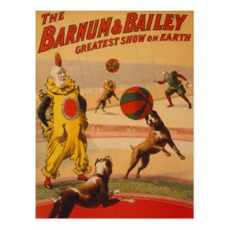 Barnum Bailey - Marvelous Football Dogs Post Card