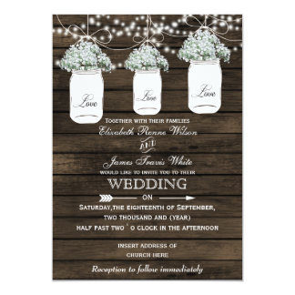 "Barnwood baby's breath mason jar wedding invites 5"" x 7"" invitation card"