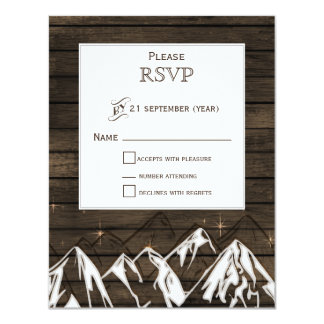 Barnwood Camping Rustic Mountains Wedding rsvp 11 Cm X 14 Cm Invitation Card