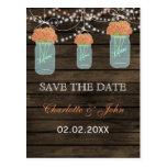Barnwood coral flowers mason jars save dates postcards
