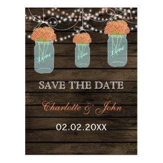 Barnwood coral flowers mason jars save dates postcard