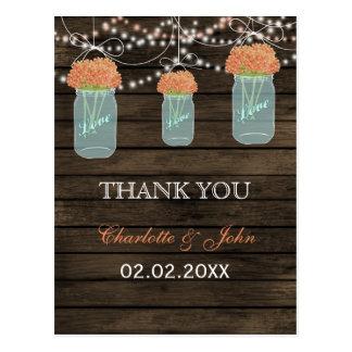 Barnwood coral flowers mason jars Thank You notes Postcard