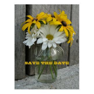 Barnwood, Daisies, Black Eyed Susans Save The Date Postcard