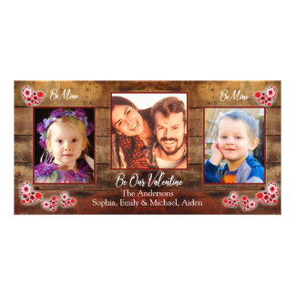 Barnwood flower hearts | Valentines Day Photo card