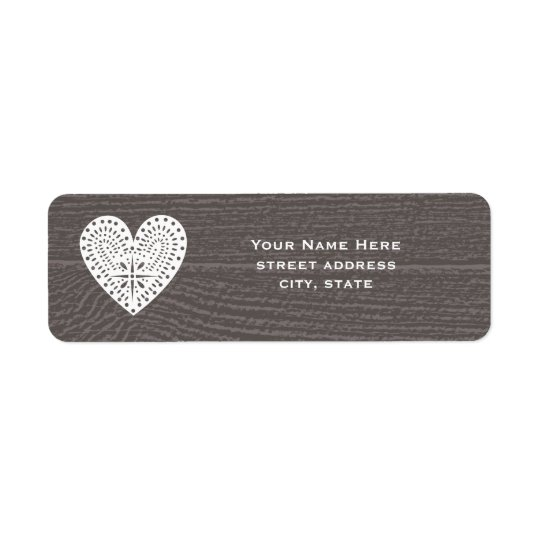 Barnwood Inspired Lace Heart Address Label