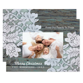Barnwood Lace Country Rustic Christmas photo Card