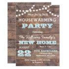 Barnwood Lights Aqua Housewarming Invitation