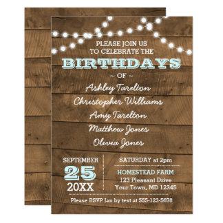 Barnwood Lights Aqua Multiple Birthdays Invitation