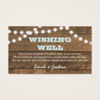 Barnwood Lights Aqua Wedding Wishing Well Business Card