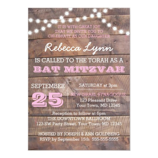 Barnwood Lights Pink Bat Mitzvah Invitation