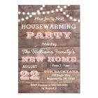 Barnwood Lights Pink Housewarming Invitations