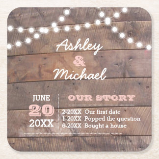Barnwood Lights Pink Personalized Wedding Square Paper Coaster
