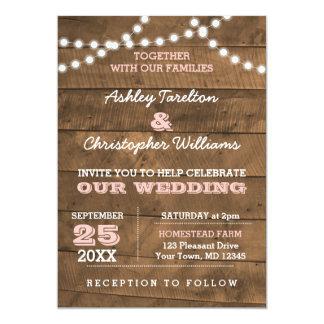 Barnwood Lights Pink Wedding Invitation