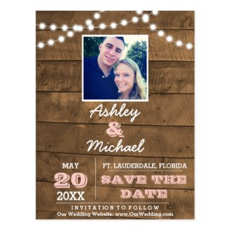 Barnwood Lights Pink Wedding Save the Date