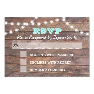 Barnwood Lights Teal Bat Mitzvah RSVP Card