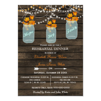 Barnwood,mason jar Fall rehearsal dinner invites