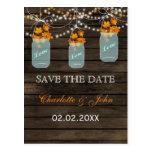 Barnwood Rustic fall leaves mason jars save dates Postcard