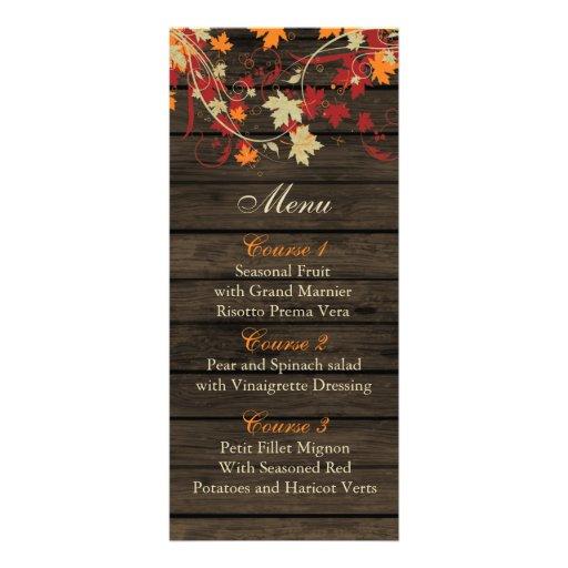 Barnwood Rustic ,fall leaves wedding menu cards Rack Cards
