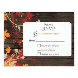 Barnwood Rustic ,fall leaves wedding RSVP Card
