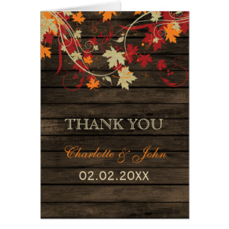 Barnwood Rustic fall leaves wedding Thank You Card
