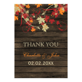 Barnwood Rustic fall leaves wedding Thank You Announcement