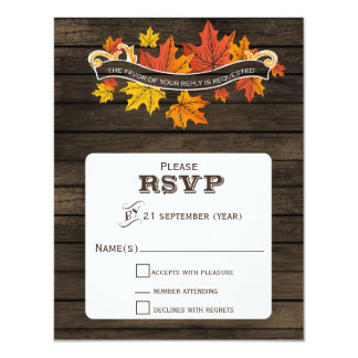 Barnwood Rustic Fall wedding rsvp 11 Cm X 14 Cm Invitation Card