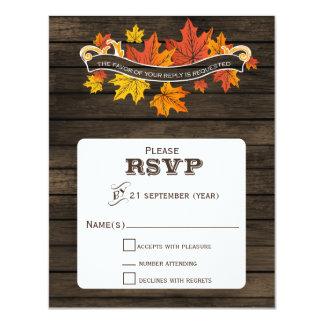 Barnwood Rustic Fall wedding rsvp Card