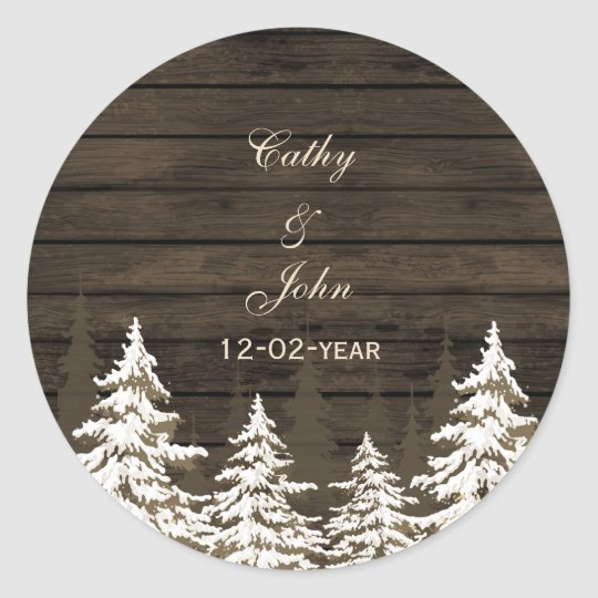 Barnwood Rustic Pine trees, winter favour stickers