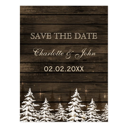 Barnwood Rustic Pine trees, winter save the date