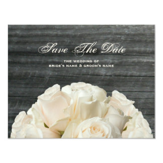 Barnwood & White Roses Wedding Save The Date 4.25x5.5 Paper Invitation Card