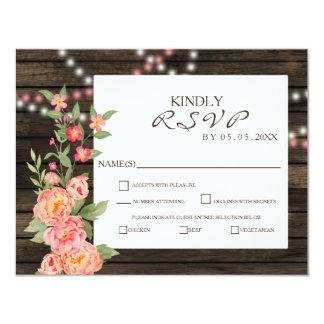 Barnwood Woodsy Peonies Rustic Wedding RSVP Card
