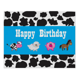 Barnyard Animal - Farm - Party - Sign - Welcome Poster