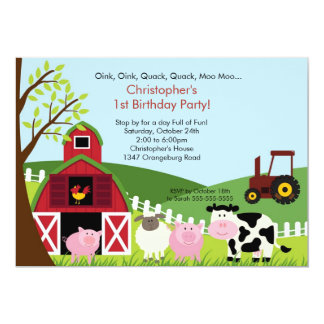 Barnyard Animal Fun Birthday Party 13 Cm X 18 Cm Invitation Card
