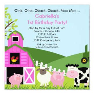 Barnyard Animal Fun Birthday Party Pink Girls 13 Cm X 13 Cm Square Invitation Card